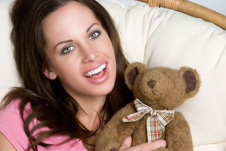 Laughing Girl With Teddy Bear Stock Photo - 4970099