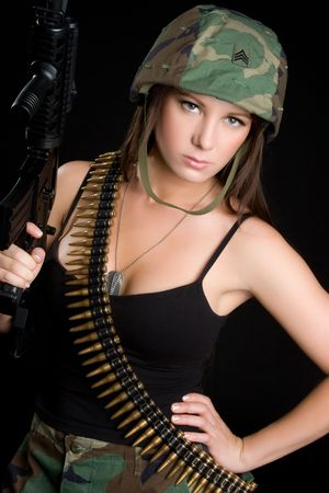 camouflage woman: Female Soldier