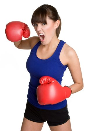 Isolated Boxing Woman Stock Photo - 4969739