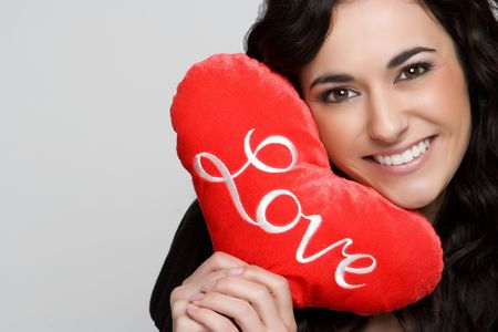 Romantic Woman Holding Heart photo