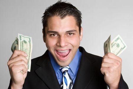 Excited Man Holding Money Stock Photo - 5031240
