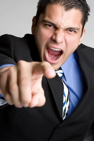 Angry Businessman Pointing 版權商用圖片
