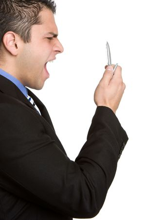Man Yelling in Cell Phone photo
