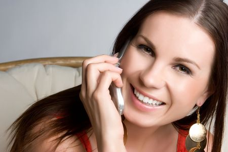 Smiling Phone Woman Stock Photo - 5020853