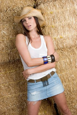 Country Girl in Hay Stock Photo - 5020872
