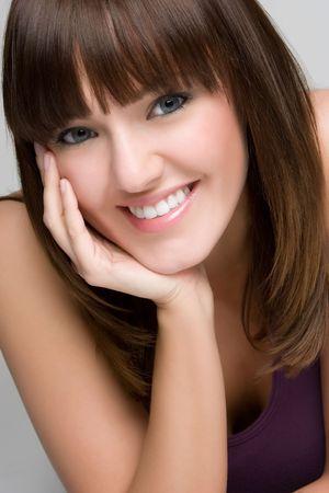 hand chin: Smiling Portrait Woman