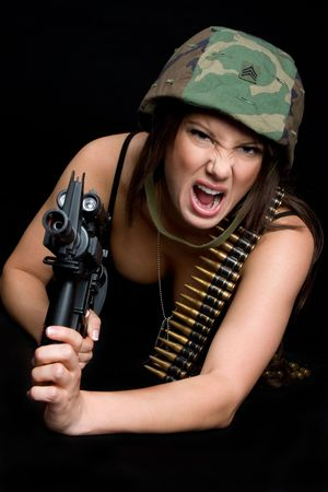 Yelling Military Woman photo