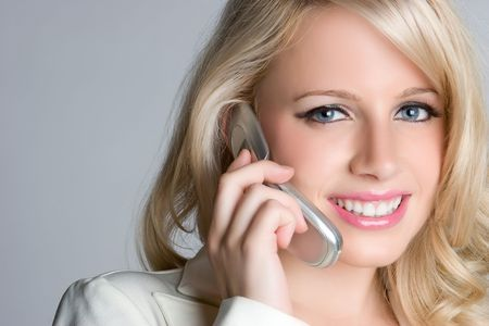 Smiling Phone Businessperson Stock Photo - 5066560