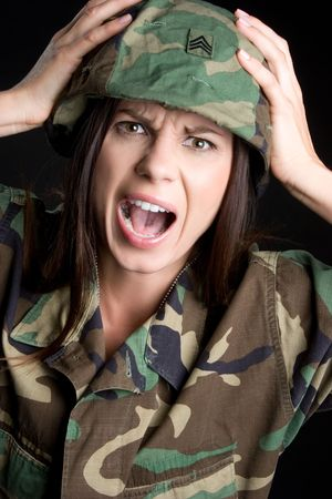 camouflage woman: Screaming Military Woman