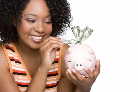 white piggy bank: Woman Holding Piggy Bank Stock Photo