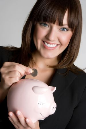 Piggy Bank Woman Stock Photo - 5086965