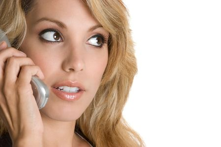 Woman Using Telephone photo
