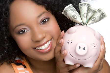 Piggybank Woman Stock Photo