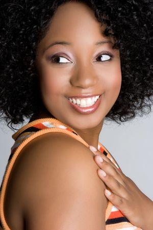 Souriant Black Woman Banque d'images - 5159555