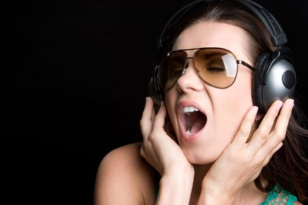 Singing Headphones Woman Stock Photo - 5165501