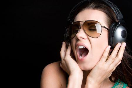 Singing Headphones Woman Stock Photo - 5165501