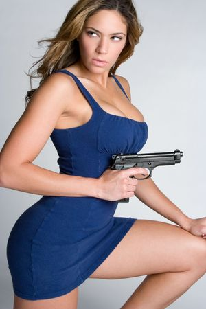 kneeling woman: Woman With Gun