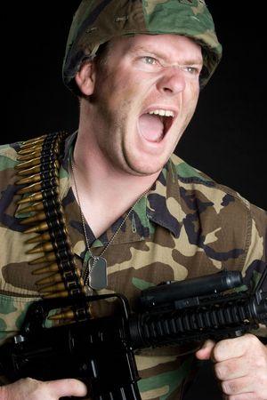 Yelling Military Man Stock Photo - 5187788