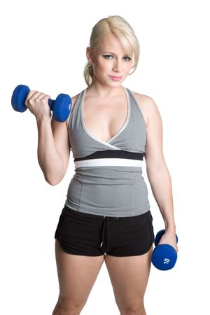Blond Girl Lifting Weights photo