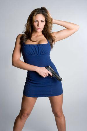Pretty Woman Holding Gun Stock Photo - 5187791