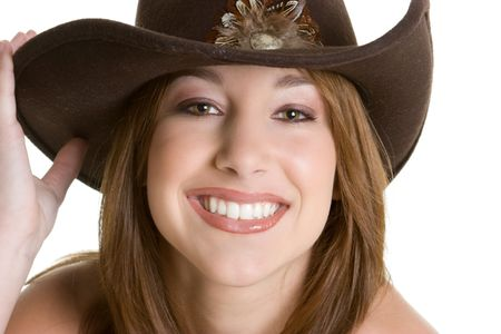 Pretty Cowgirl Wearing Hat photo