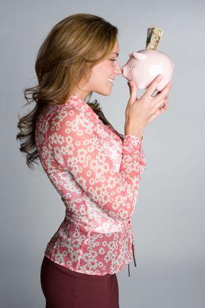 Piggy Bank Businesswoman Stock Photo - 5210899