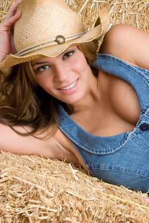 Pretty Cowgirl Laying Down Stock Photo - 5210897