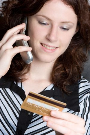 Credit Card Phone Woman Stock Photo - 5218589