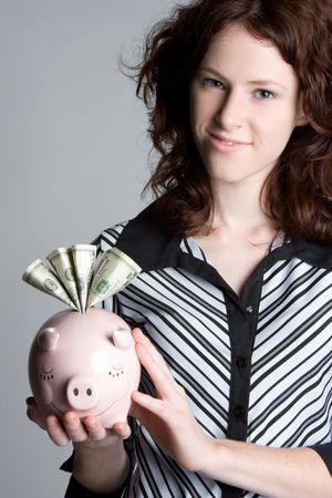 Piggy Bank Girl Stock Photo - 5218587