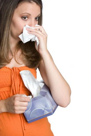 Sick Girl Holding Tissues photo