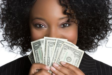 african american businesswoman: Woman Hiding Behind Money LANG_EVOIMAGES