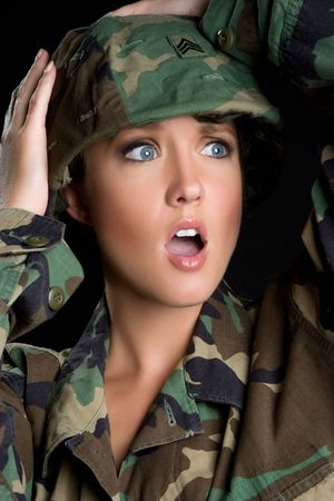 Shocked Military Woman Imagens