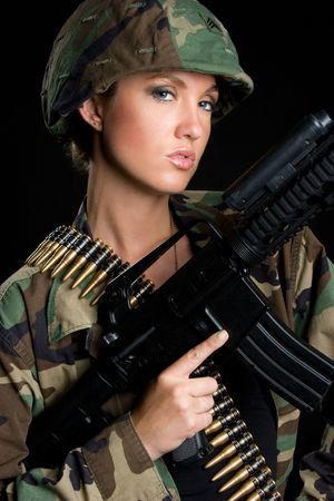Army Gun Woman Stock Photo - 5288574