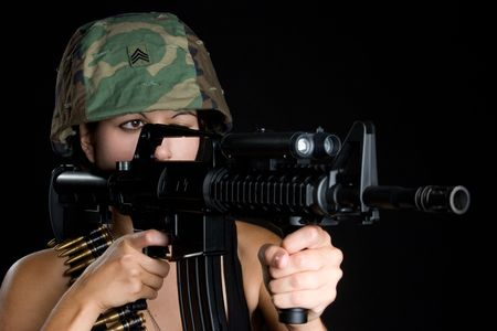 Soldier Aiming Gun Stock Photo - 5343394