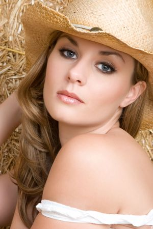bare shoulders: Cowgirl Wearing Hat LANG_EVOIMAGES