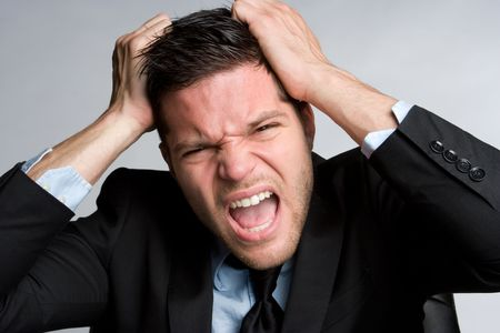 screaming head: Frustrated Businessman