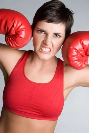 Angry Boxing Woman Stock fotó
