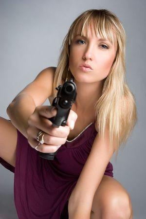 Woman Holding Handgun Stock Photo - 5494591