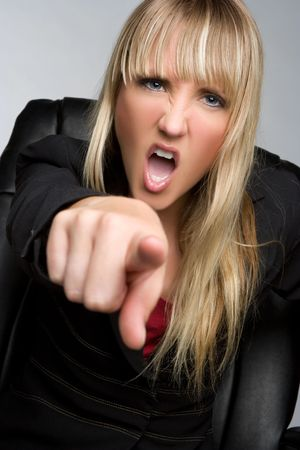 Angry Pointing Businesswoman