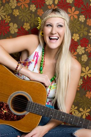 Hippie Guitar Woman Stock Photo - 5501379