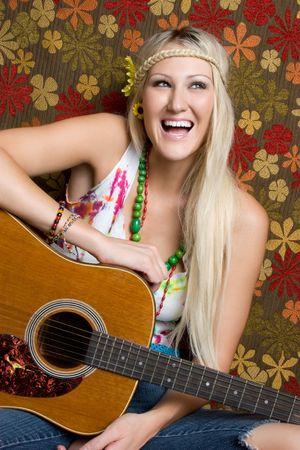 Hippie Guitar Woman Stock Photo - 5501379
