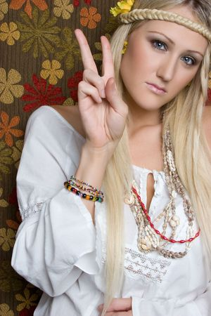 Hippie Giving Peace Sign Stock Photo - 5501396