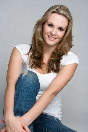 Beautiful Casual Woman Smiling Stock Photo - 5501409