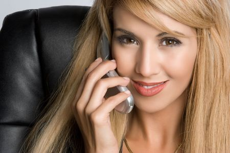 Smiling Phone Girl Stock Photo - 5501416