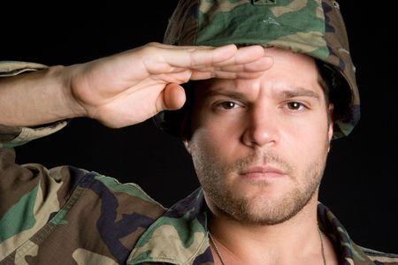 soldado: Military Man Saludando
