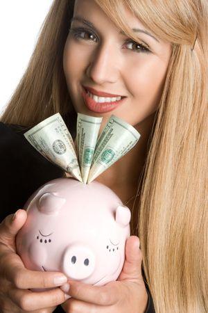 Woman Holding Piggy Bank Stock Photo - 5501461