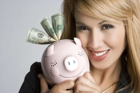 Latin Piggy Bank Woman Stock Photo - 5518764