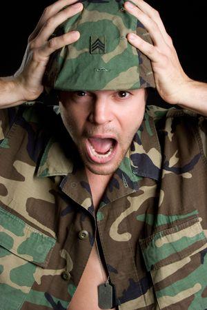 Shocked Army Man Stock Photo - 5518767