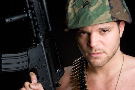 Marine Holding Gun Stock Photo - 5518765