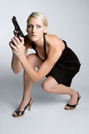 Gun Woman Posing Stock Photo - 5501499